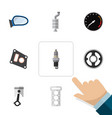 flat icon parts set of gasket belt silencer and vector image vector image