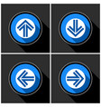 four white blue arrows with black shadows vector image vector image