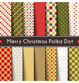 fourteen merry christmas polka dot seamless vector image vector image