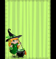 halloween border of witch baby girl with vector image vector image