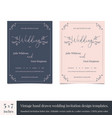 hand drawn doodle wedding invitations design vector image