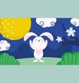 happy mid autumn festival bunny full moon flowers vector image vector image