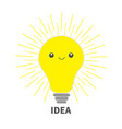 idea light bulb icon with happy face shining line vector image vector image