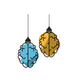 isolated abstract two brain vector image