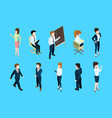 isometric business people in different action vector image vector image