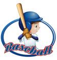 Label design with baseball player vector image vector image