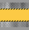metal textured yellow plate with stripes vector image vector image