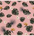 monstera seamless plumeria strelitzia pink vector image