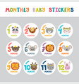 monthly baby stickers for little girls and boys vector image vector image