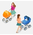 Mother pushing a baby stroller isolated against vector image vector image
