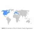 NATO member countries in world map vector image