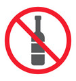 no alcohol glyph icon prohibition and forbidden vector image vector image