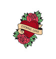 old school tattoo emblem label with rose heart vector image vector image