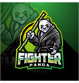 panda fighter esport mascot logo design vector image vector image