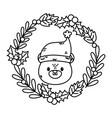 polar bear wreath holly berry celebration merry vector image