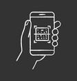 qr code smartphone scanner chalk icon vector image vector image