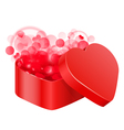 red heart box vector image vector image