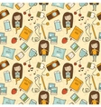 Seamless pattern with cute little girl vector image vector image
