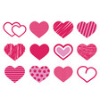set of 12 various cute red and pink heart vector image