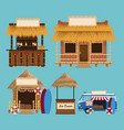 set of beach kiosk vector image