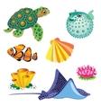 Set of Sea Animals vector image vector image