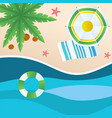 summer beach green umbrella beach mat swimming tir vector image
