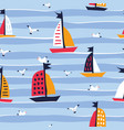 summer seamless pattern with cute ships creative vector image vector image