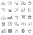 Supply chain line icons on white background vector image