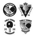 table tennis set of four vintage emblems vector image
