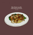 thai food stir fried rice noodle in soy sauce vector image vector image