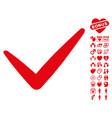 valid icon with valentine bonus vector image vector image