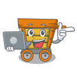 with laptop wooden trolley character cartoon vector image