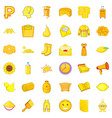 Yellow flower icons set cartoon style