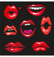 woman lip gestures set girl mouths close up with vector image