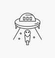 alien space ufo spaceship mars line icon isolated vector image