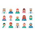 arabic doctors avatars dentist nurses male vector image