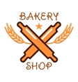Bakery shop retro badge with crossed rolling pins vector image vector image