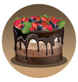 birthday cake with berry vector image vector image