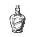 blown scotch bottle with style cork cap vector image