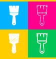 brush sign four styles of icon on vector image vector image