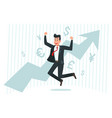 businessman rejoices in growth successful finance vector image
