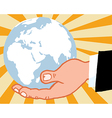 Bussines Hand Holding Globe vector image vector image