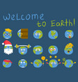 cartoon globe emotion planet icons smile happy vector image vector image