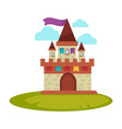 cartoon medieval castle with high towers with flag vector image