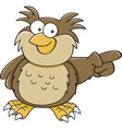 Cartoon owl pointing vector image