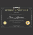 certificate or diploma retro template 3 vector image vector image