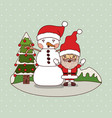 christmas card with christmas tree and snowman and vector image