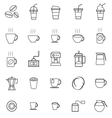 Coffee line icons on white background vector image vector image
