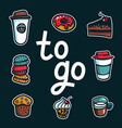 coffee to go poster with lettering to go and take vector image vector image