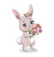 cute girl bunny cartoon character vector image